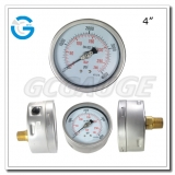 4 inch back liquid filled bourdon pressure SS case brass internal gauges