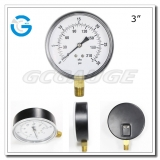 3 Economy black steel lower connection screw type pressure gauge meter