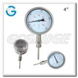4 inch stainless steel bottom connection bayonet ring hot water bimetallic thermometers