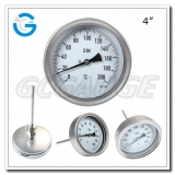 4 inch  stainless steel  back connection accurate bimetallic thermometers with inside bayonet ring