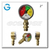 2 One-piece forged brass case mining pressure gauges