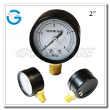 2 Economy black steel radial connection bar pressure gauge with press-in style