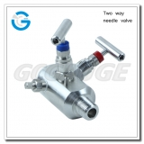 Two way needle valve for pressure gauges