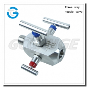 Three way needle valve