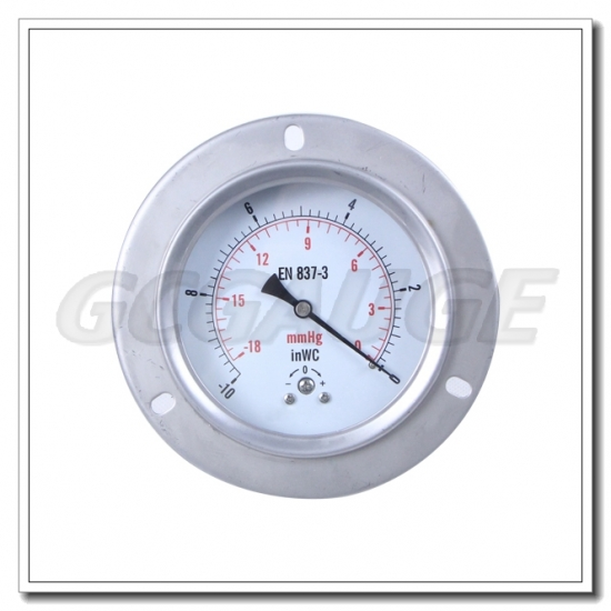 4 Inch Pressure Gauges Mbar Back Connection With Flange